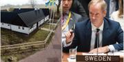 Dag Hammarskjölds Backåkra på Österlen och Sveriges FN-ambassadör Olof Skoog.  TT NYHETSBYRÅN