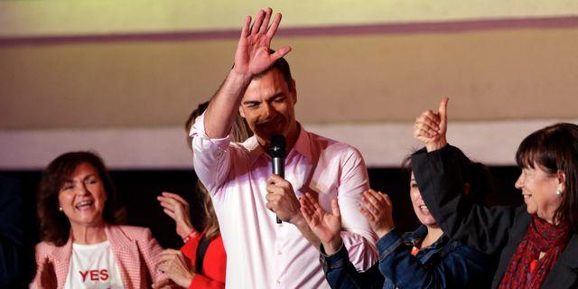 Pedro Sánchez i samband med valet i april.  Andrea Comas / TT NYHETSBYRÅN/ NTB Scanpix