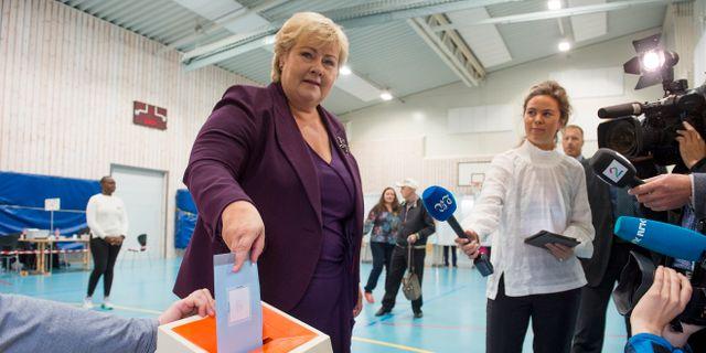 Erna Solberg röstar Hommedal, Marit / TT NYHETSBYRÅN