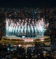 Fyverkerier under invigningen i Tokyo. Kiichiro Sato / TT NYHETSBYRÅN