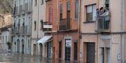 Samhället Sarria de Ter har drabbas av stora översvämningar. JOSEP LAGO / AFP