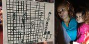En teckning från ett barn till en migrant i Texas visas upp/migranter i Texas. Arkivbilder från juli. TT