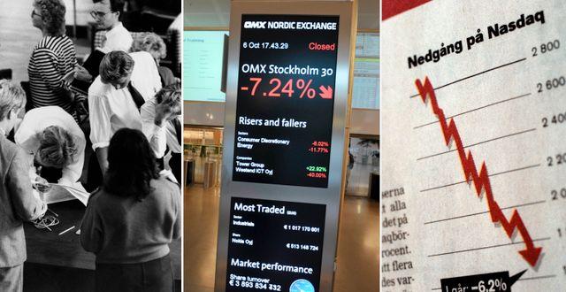 Arkivbilder från börskrascherna 87, 16 och 01.  TT