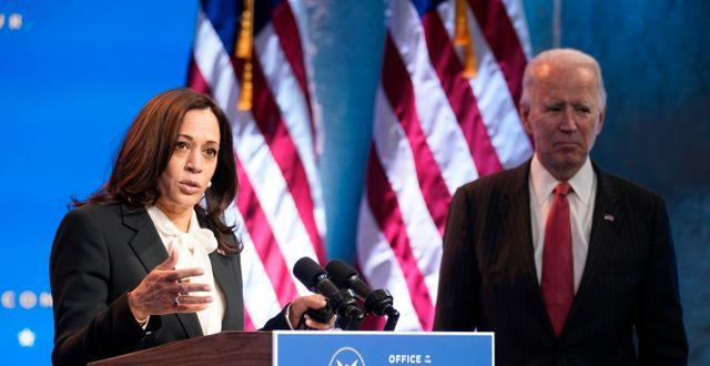 Kamala Harris och Joe Biden.  Andrew Harnik / TT NYHETSBYRÅN