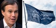 H&M:s vd Karl-Johan Persson och en Alfa Laval-flagga.  TT