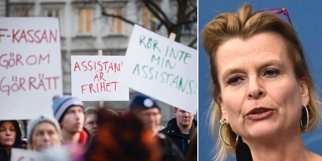 Demonstration mot lagändringen / Barn- och äldreminister Åsa Regnér (S).  TT