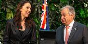 Jacinda Ardern och António Guterres i samband med den gemensamma pressträffen idag. DAVID ROWLAND / AFP
