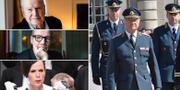 Kjell Espmark, Peter Englund, Sara Danius och kung Carl XVI Gustaf.  TT