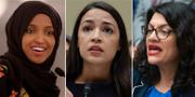 Ilhan Omar, Alexandria Ocasio-Cortez och Rashida Tlaib.  TT