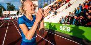 Tilde Johansson efter jättehoppet. FREDRIK KARLSSON / Bildbyrån