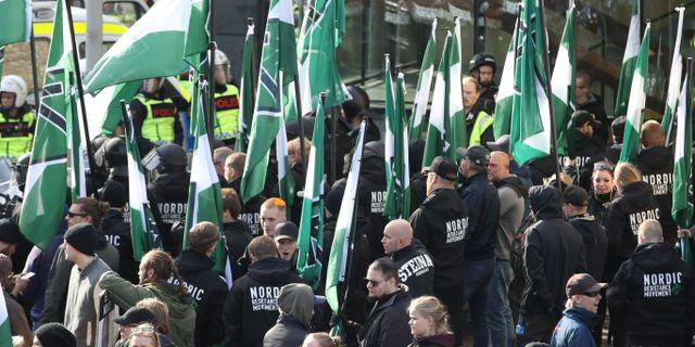 Nordiska motståndsrörelsens (NMR) vid demonstrationen i centrala Göteborg i september förra året. Adam Ihse/TT / TT NYHETSBYRÅN