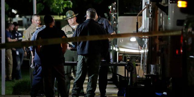 Polisen på plats i Sumner.  Mark Humphrey / TT NYHETSBYRÅN