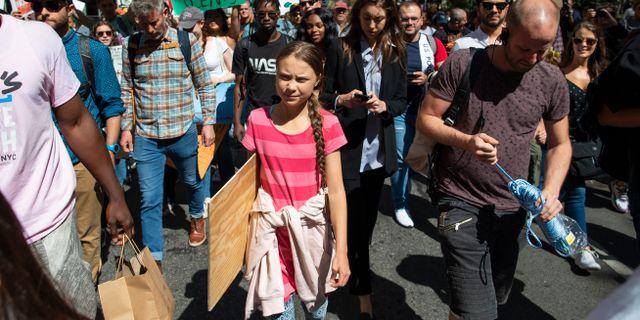 Greta Thunberg under dagens klimatstrejk i New York. Eduardo Munoz Alvarez / TT NYHETSBYRÅN