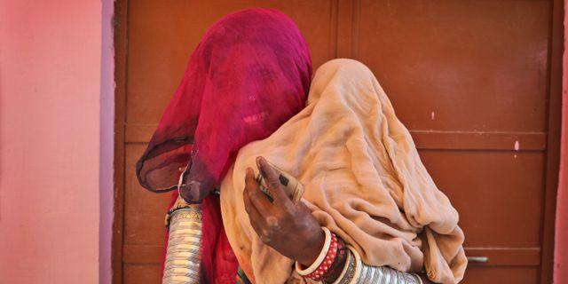 En indisk kvinna i Rajasthan i samband med valet i maj 2019. Manish Swarup / TT NYHETSBYRÅN