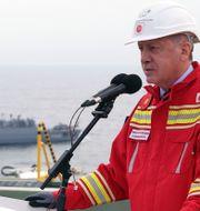 Turkiets president Recep Tayyip Erdogan var ombord på borrningsfartyget Faith i Svarta havet under lördagen.  TT NYHETSBYRÅN