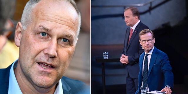 Jonas Sjöstedt (V), S-ledaren Stefan Löfven och M-ledaren Ulf Kristersson.  TT