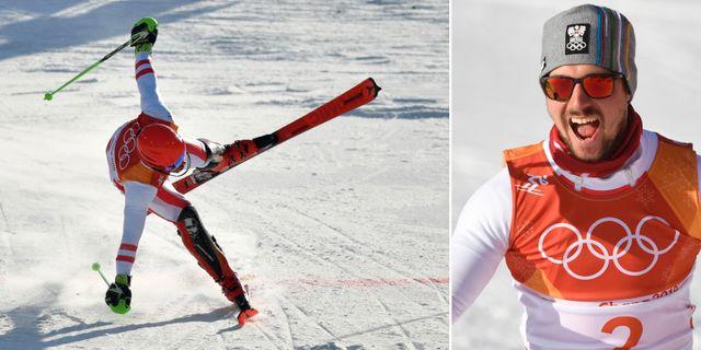 Till vänster: Marcel Hirscher skär mållinjen i kombinationen. Till höger: Hirscher jublar efter målgång. TT