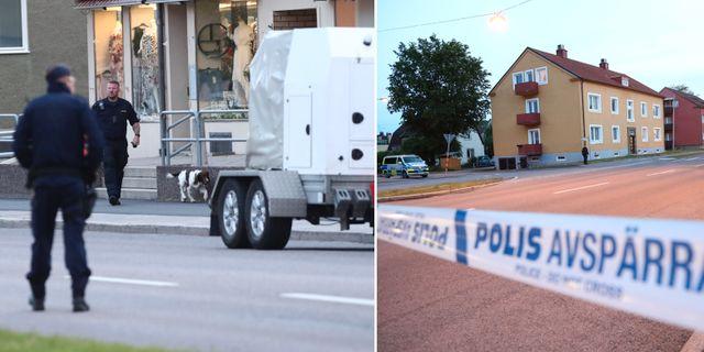 Polisens bombtekniker på plats i Linköping.  TT.