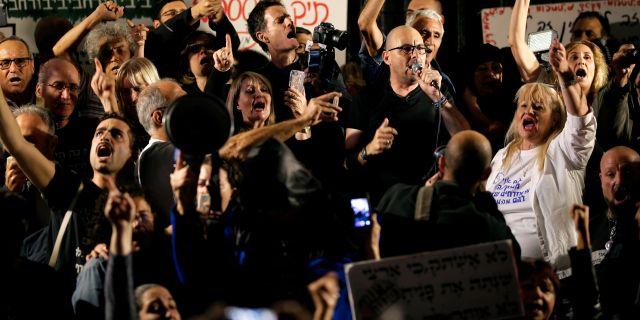 Protesterna i Tel Aviv. AMIR COHEN / TT NYHETSBYRÅN