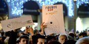 Demonstranter i Florens. FILIPPO MONTEFORTE / AFP