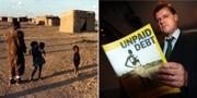 """En familj i Sudan och rapportförfattaren av """"Unpaid Debt"""" Egbert Wasselink TT"""