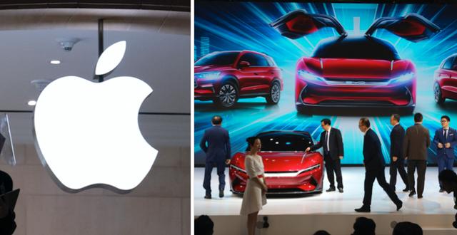 Bilar från BYD visas på Auto Shanghai 2019.  Mark Lennihan/AP respektive Ng Han Guan/AP
