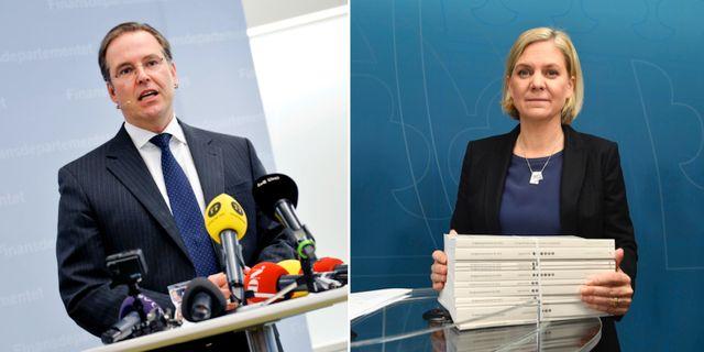 Anders Borg vid avgången 2014, Magdalena Andersson vid lämnandet av höstbudgeten 2018. Arkivbilder. TT