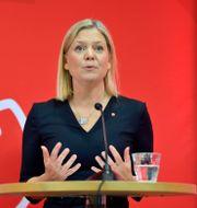 Magdalena Andersson på onsdagens pressträff. Jessica Gow /TT / TT NYHETSBYRÅN