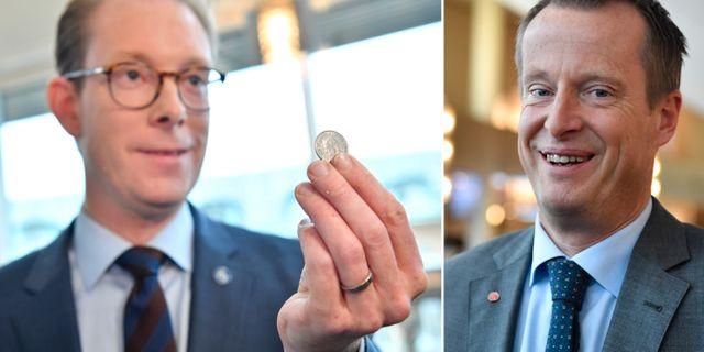 Tobias Billström och Anders Ygeman.  TT