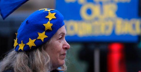 Demonstration för EU i Storbritannien.  TT