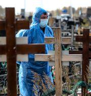 Kyrkogårdsarbetare i Omsk, Ryssland. TT NYHETSBYRÅN