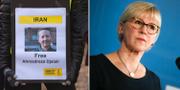 T.v en demonstration för att Ahmadreza Djalali ska släppas fri. T.h. Utrikesminister Margot Wallström.  TT