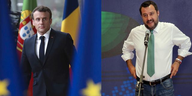 Matteo Salvini och Emmanuel Macron. TT