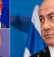 Yair Lapid och Naftali Benett (tv) utmanar Benjamin Netanyahu (th). TT