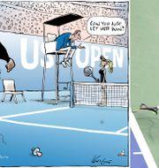 Mark Knights teckning som publicerades i The Herlad Sun och Serena Williams under US Open-finalen.  AP/TT.