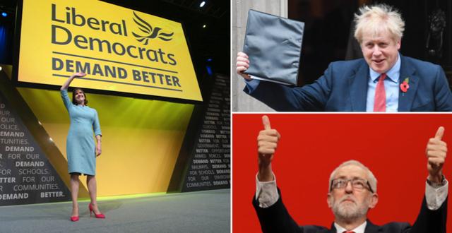 Liberaldemokraternas partiledare Jo Swinson, Torypartiets ledare Boris Johnnson och Labours ledare Jeremy Corbyn. TT