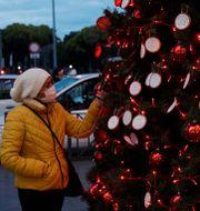 En kvinna som läser meddelande på en julgran i Rom.  Gregorio Borgia / TT NYHETSBYRÅN