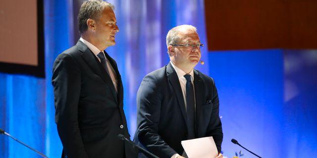 Carl-Henric Svanberg, styrelseordförande för AB Volvo och Martin Lundstedt, vd och koncernchef. Adam Ihse/TT / TT NYHETSBYRÅN