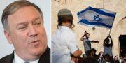 Mike Pompeo och firande israeler i Jerusalem.  TT.