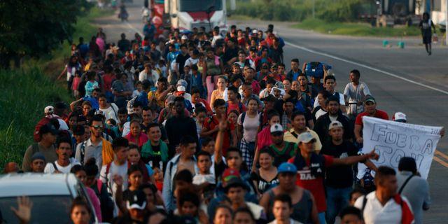 Hundratals migranter promenerar från Guatemala till Mexiko.  Marco Ugarte / TT NYHETSBYRÅN/ NTB Scanpix