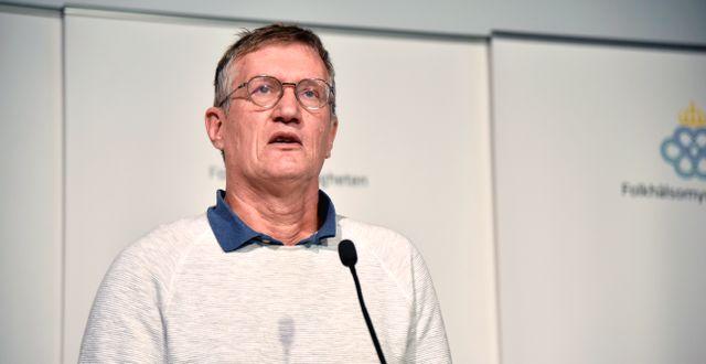 Anders Tegnell vid en pressträff.  Lars Schröder/TT / TT NYHETSBYRÅN