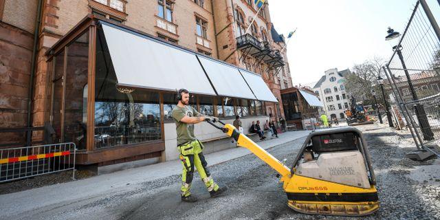 Förberedelser utanför Grand Hotel i Lund inför FN:s säkerhetsråds ankomst i april i år. Johan Nilsson/TT / TT NYHETSBYRÅN