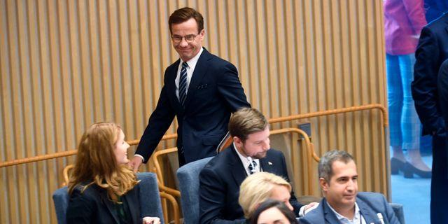 Moderaternas partiledare Ulf Kristersson (M) inför uppropet och talmansvalet i riksdagen i Stockholm. Fredrik Sandberg/TT / TT NYHETSBYRÅN