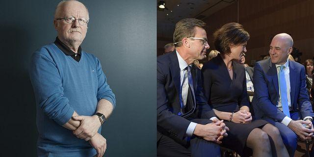 Torbjörn Nilsson, professor på Södertörns högskola och Moderaternas tre senaste partiledare. Foto: Montage, Pi Frisk/SvD/ Janerik Henriksson