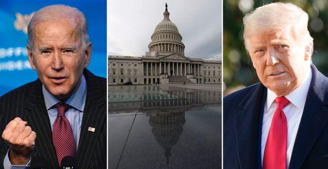 Joe Biden, Kapitolium och Donald Trump. TT.