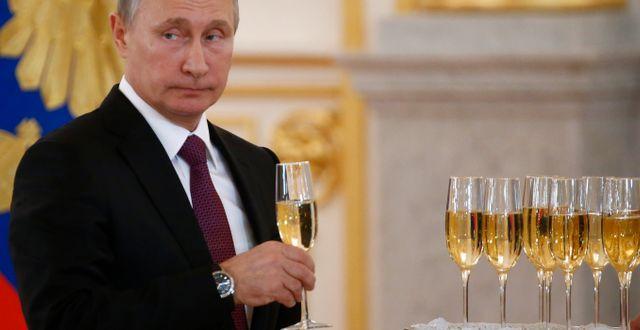 Trump under en mottagning för utländska ambassadörer i dag. Sergei Karpukhin / TT NYHETSBYRÅN