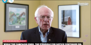 Bernie Sanders ger sitt uttalande.