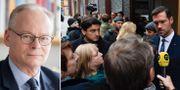 Tommy Möller/M:s rättspolitiske talesperson Johan Forssell intervjuas. TT