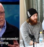 Sven-Erik Alhem i Aktuellt och Robin och Christian Karlsson.  Skärmdump SVT Aktuellt/TT