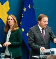 C-ledaren Annie Lööf, statsminister Stefan Löfven (S). Pontus Lundahl/TT / TT NYHETSBYRÅN